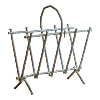 Vintage Verdini Metal Bamboo Magazine Rack For Sale