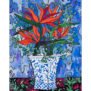 Tropical Bouquet on Ultramarine Blue Still Life Painting For Sale