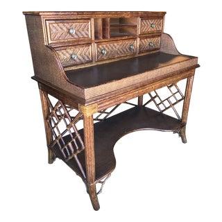 Lexington Fretwork Chippendale Rattan Desk Console For Sale