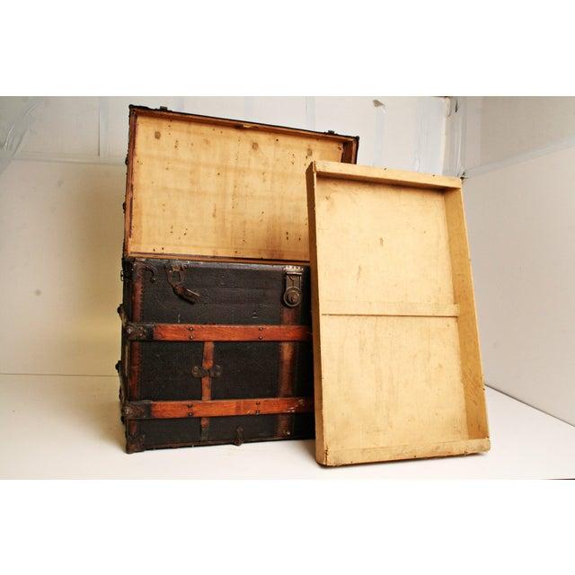 Antique Wood Steamer Trunk - Image 3 of 11