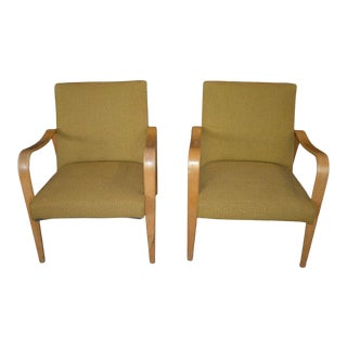 Mid 20th Century Thonet Mid Century Modern Bentwood Gold Upholstered Arm Chairs - a Pair For Sale