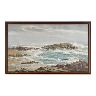 Mid 20th Century Rocky Seascape Oil Painting, Framed For Sale