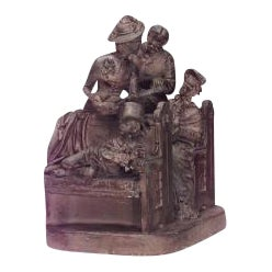 "American Victorian ""Neighboring Pews"" terra cotta Roger's Group of 4 figures For Sale"