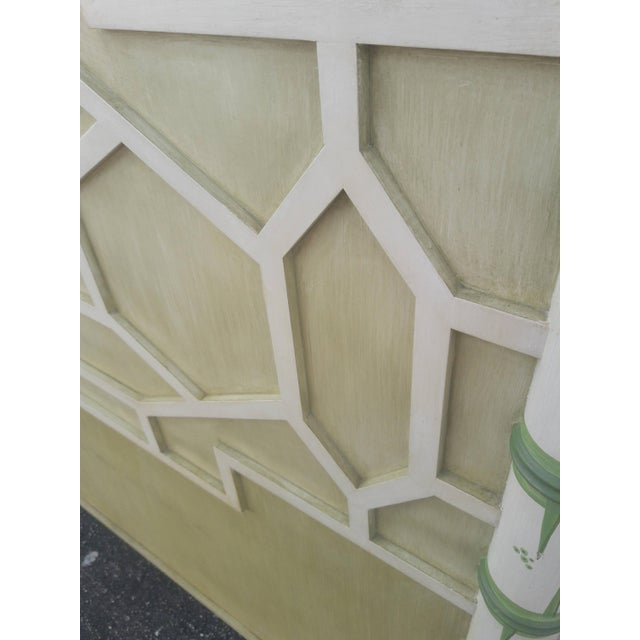 Asian Asian Solid Wood Queen Geometric Pagoda Headboard For Sale - Image 3 of 6