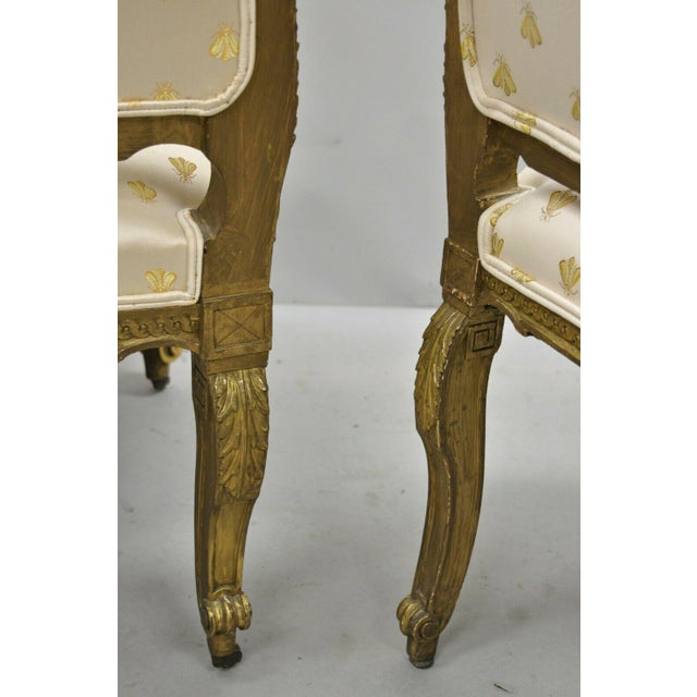 White 19th Century French Louis XV Style Gold Gilt Wood Parlor Salon Suite - 3 Pieces For Sale - Image 8 of 13