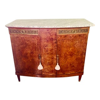 1920s French Art Deco Marble Top Burl Walnut Sideboard or Credenza For Sale