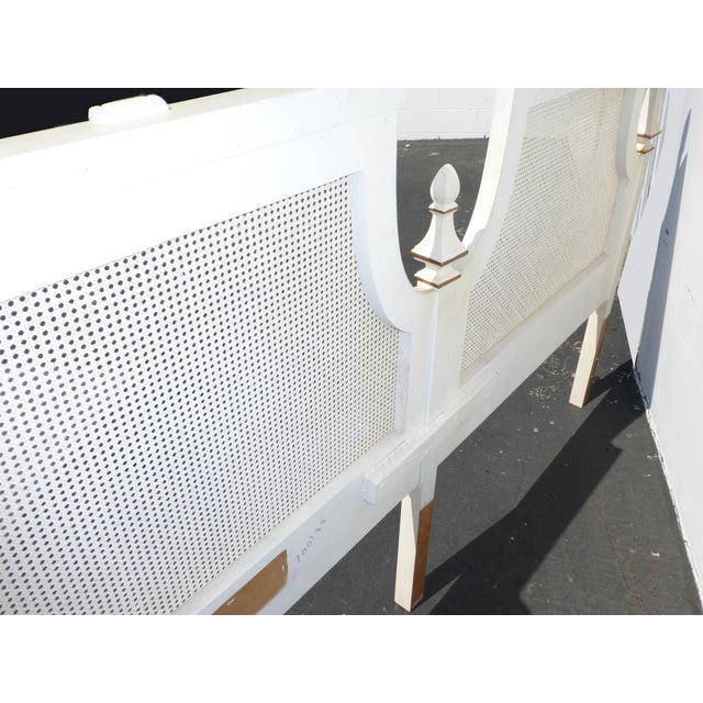 French Provincial White & Gold Cane Headboard - Image 11 of 11