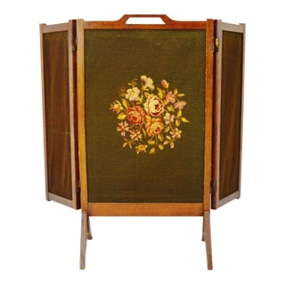 Antique 3 Panel Needlepoint Folding Firescreen