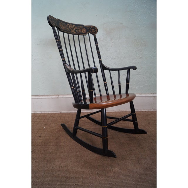 Hitchcock Black Painted Stenciled Rocking Chair - Image 10 of 10