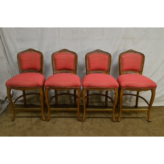 French Louis XV Style Set of 4 Bar Stools by Pama Furniture For Sale - Image 9 of 13