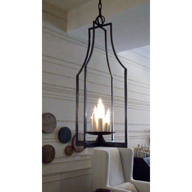 Contemporary Custom Elongated Iron Lantern by Michael Del Piero For Sale - Image 3 of 4