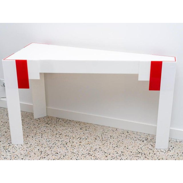 Lucite Console Table Red and White 1970s Art Deco Revival For Sale - Image 9 of 13