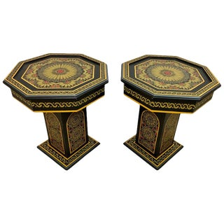 Moroccan Hand Painted Black End Tables - a Pair For Sale