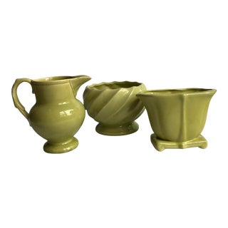 Mid 20th Century Green Pottery Collection - Set of 3 For Sale