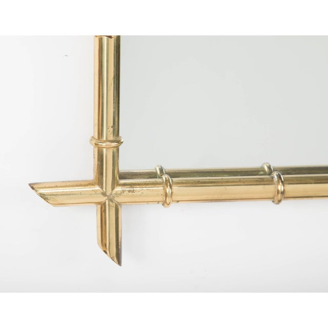 Metal Hollywood Regency Faux Bamboo Brass Mirror For Sale - Image 7 of 8