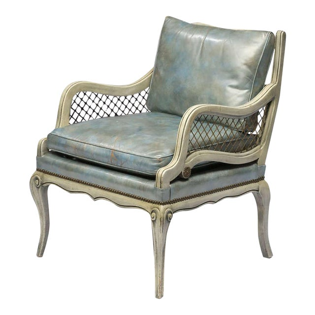 Pair of 1940s Carved and Lacquered Lounge Chairs with Blue Leather Upholstery - Image 1 of 7