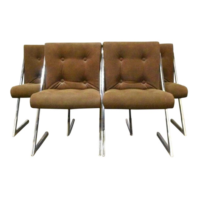 Milo Baughman for Dia Chrome Z-Bar Cantilever Dining Chairs -Set of 4 For Sale