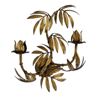 Hollywood Regency Gilded Gold Faux Bamboo and Leaf Wall Sconce For Sale