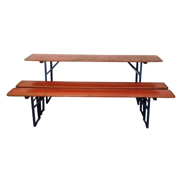 Orange German Beer Garden Table & Benches For Sale