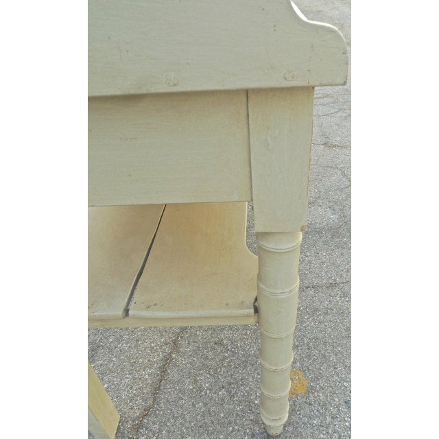 Wood 19th Century French Painted Server or Vanity With Two Drawers and Two Shelves For Sale - Image 7 of 12