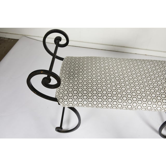 Hollywood Regency Scrolling Iron Bench in Jim Thompson Fabric For Sale - Image 11 of 12