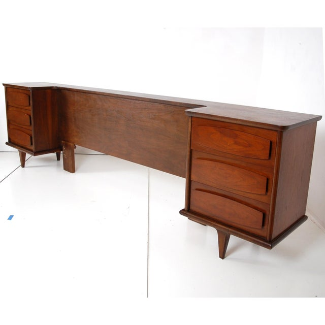 Classic 1960's Queen size, Mid-Century Modern Headboard with built in nightstands by American of Martinsville. This...