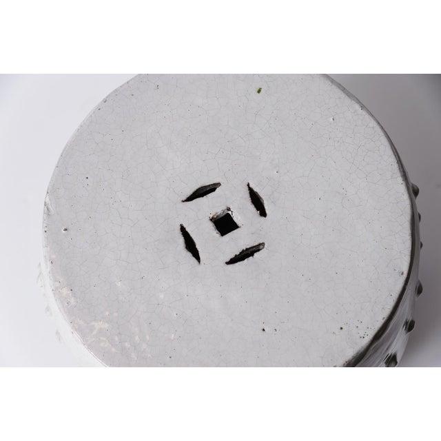 Antique Chinese White Glazed Crackled Terra Cotta Garden Stool For Sale - Image 10 of 13