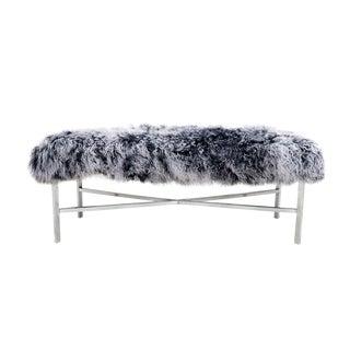 Gray Mongolian Fur Bench