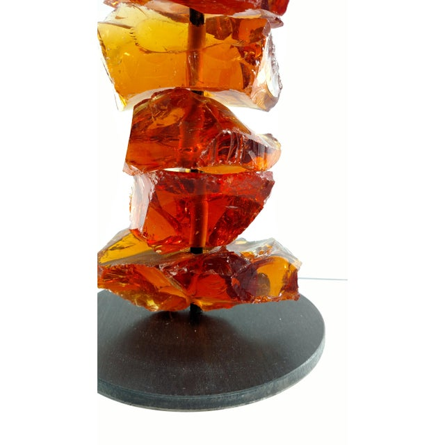 Murano Amber Glass Candlestick For Sale In Miami - Image 6 of 6