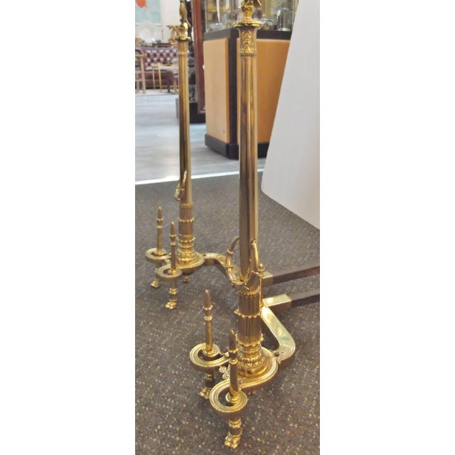 Louis XV Style Brass Tall Andirons - a Pair For Sale - Image 4 of 7