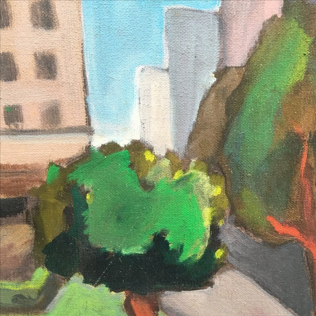 Vintage Painting of a Cityscape, Urban Highrise - Image 5 of 11