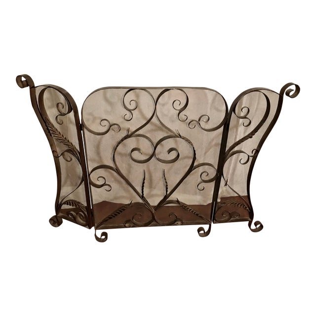 Spanish Revival Mid-Century Wrought Iron Scroll Work Fireplace Screen For Sale