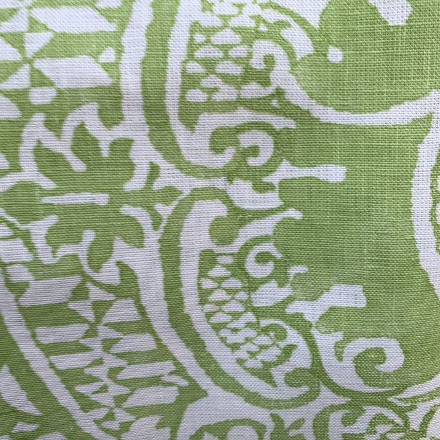Quadrille Veneto Hand-Printed Lime Linen Fabric For Sale - Image 4 of 7