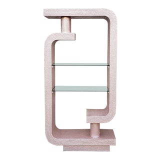 Vintage Champagne Pink Plaster Mod Etagere Shelf For Sale