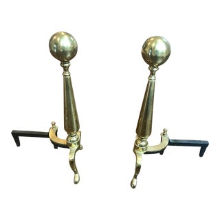 Rostand Solid Brass Andirons - a Pair For Sale