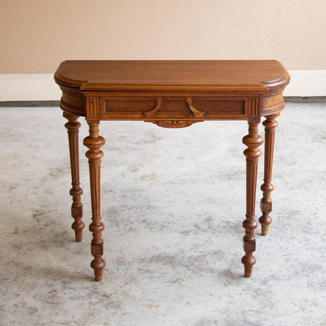 19th Century French Henri II Walnut Game Table ~ Console For Sale - Image 12 of 13