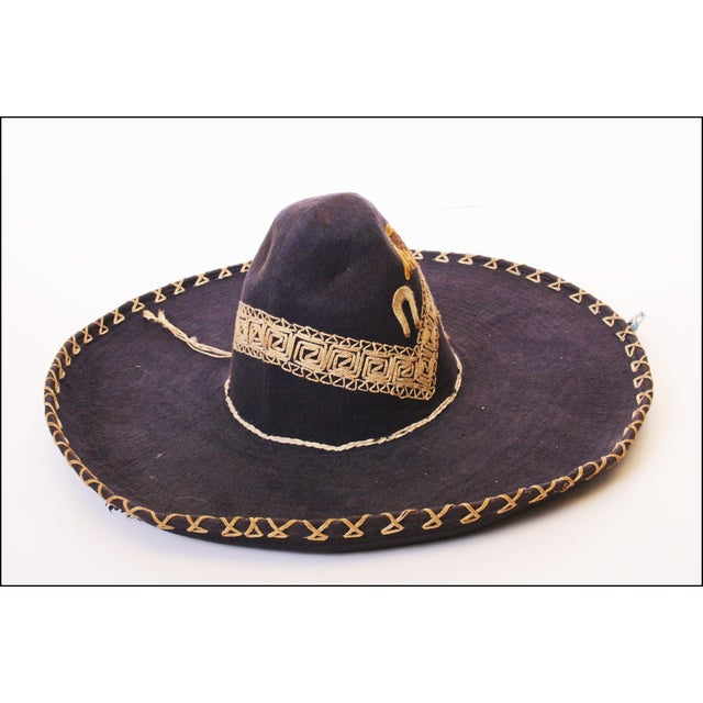 Early Mexican Navy Blue Embroidered Sombrero - Image 5 of 11