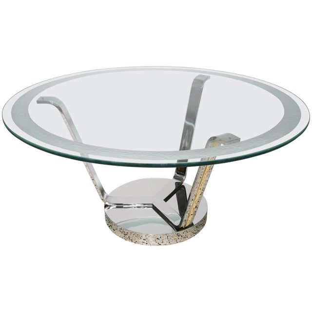 Art Deco Revival Round Dining or Center Table, Chrome & Brass, by Karl Springer For Sale - Image 11 of 11