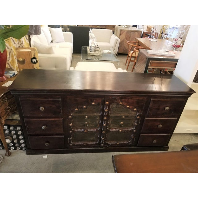 Antique Asian Indian Rustic Heavy Metal Hardware Wood Credenza For Sale - Image 9 of 9