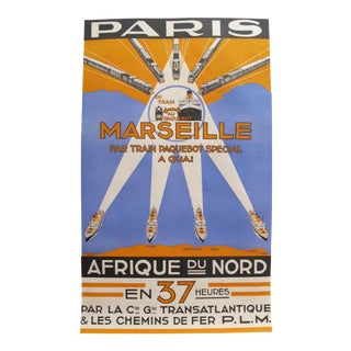 Rare French 1930s Art Deco Travel Poster, Paris Marseille For Sale