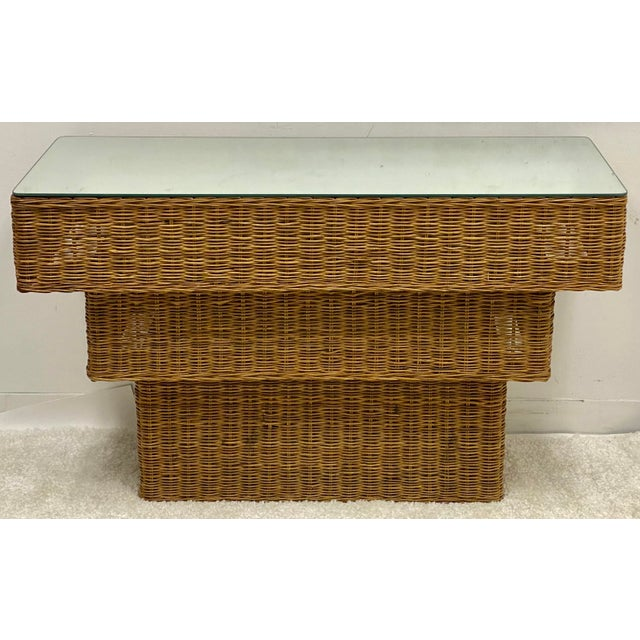 1960s Mid-Century Modern Graduated Wicker Console Table For Sale - Image 5 of 7