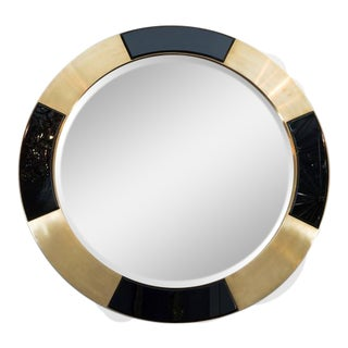 Brass and Black Glass Circle Mirror For Sale