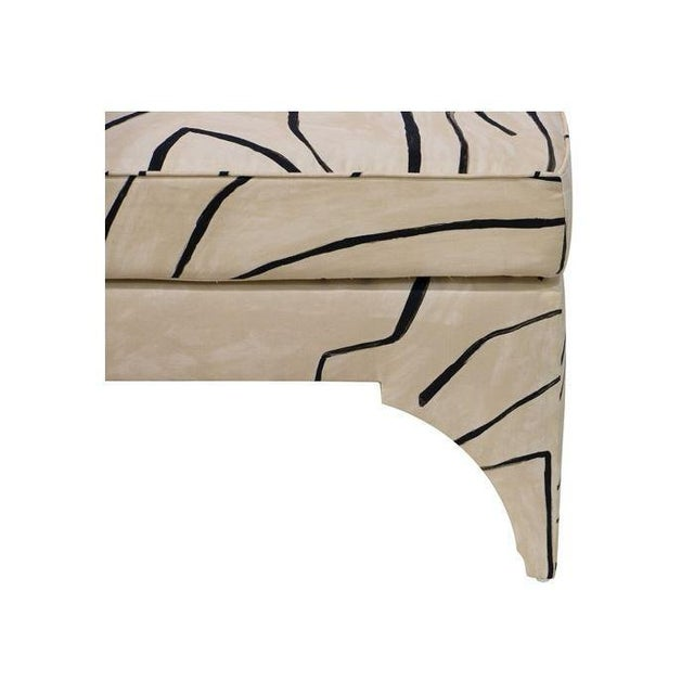 Abstract Contemporary Grafitto Print Upholstered Cocktail Table For Sale - Image 3 of 5