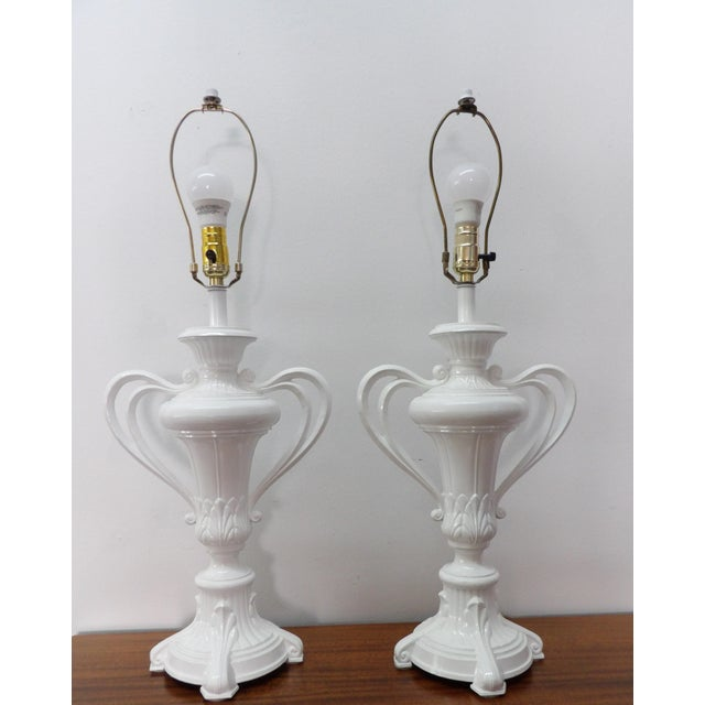 Metal 1980s Vintage Handled Metal Urn Lamps in New White Lacquer - a Pair For Sale - Image 7 of 7