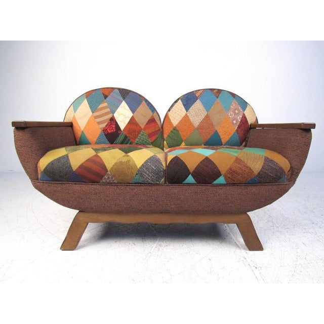 This unique two-seat settee was carefully constructed from vintage wine casks and oak hardwood. Quilt style upholstery...