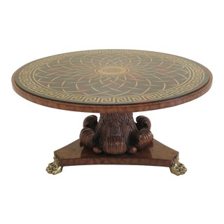 1990s Vintage Maitland Smith Neoclassical Round Eglomise Top Center Dining Room Table For Sale