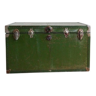 1950s Industrial Olive Green Trunk For Sale
