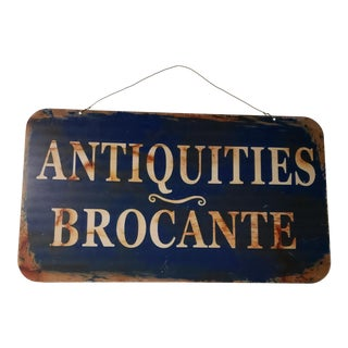 2 Sided French Antiques Shop Sign For Sale
