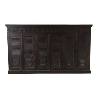 20th Century Indonesian Teak Cabinet With Dark Stain Carved Cornice For Sale