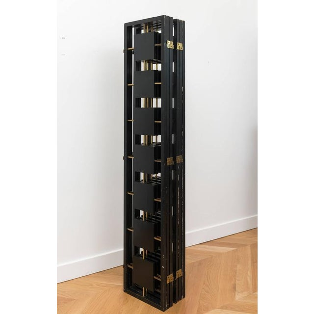 Brass & Black Lacquer Six-Panel Screen For Sale - Image 10 of 11